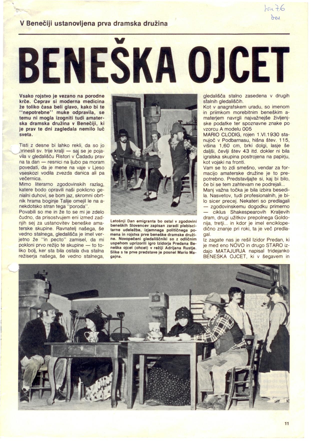 1976 - Beneska Ojcet - Dom članek 1