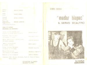 1979 - Modar Hlapac - Foglio di sala 1