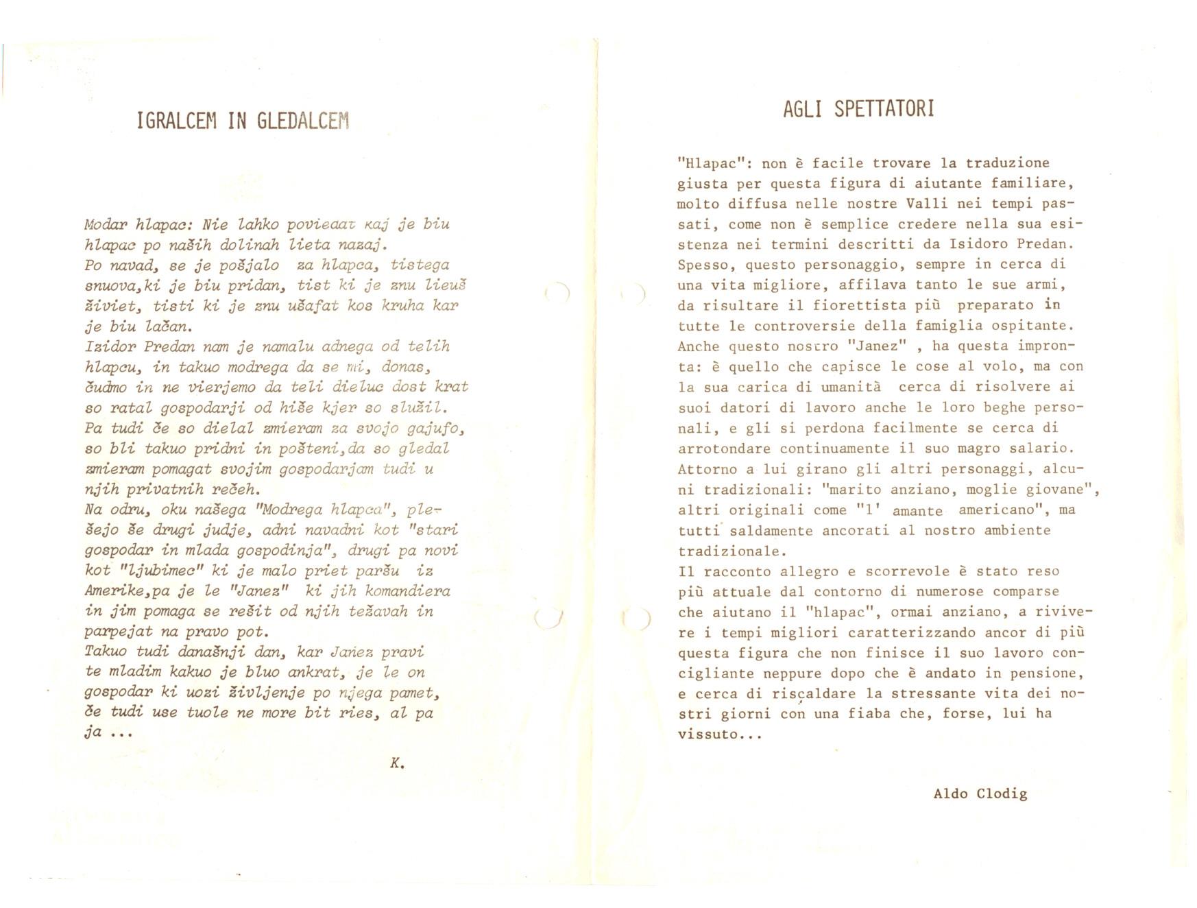 1979 - Modar Hlapac - Foglio di sala 2