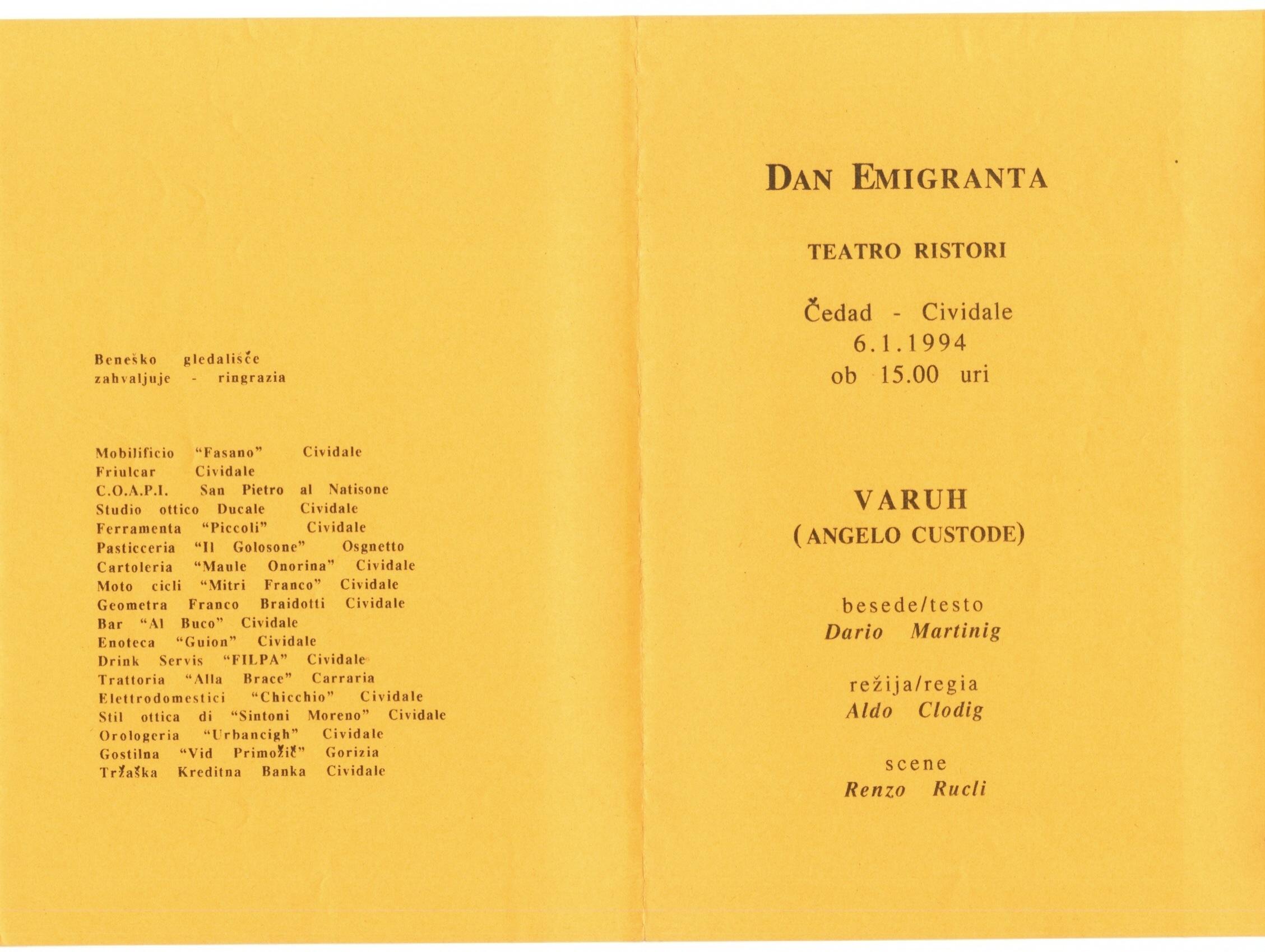 1994 - Varuh - Foglio sala 2