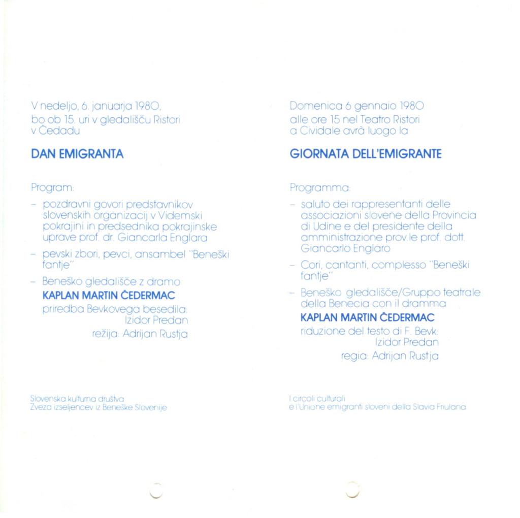 1980 - Kaplan Martin Cedermaz - Foglio di sala 2